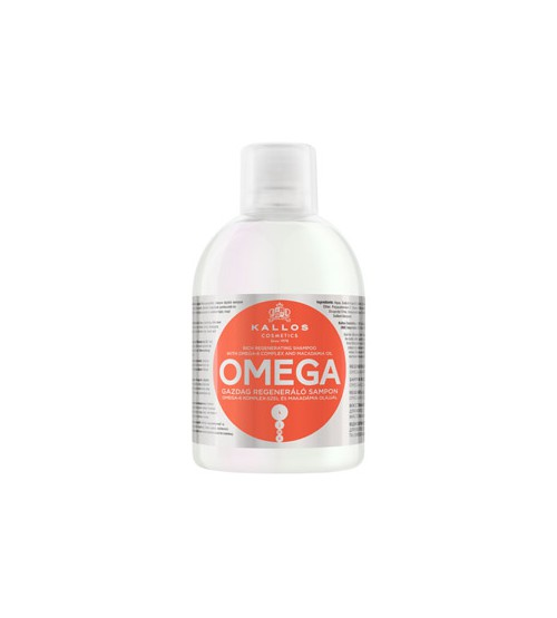 Восстанавливающий шампунь для безжизненных, секущихся волос с комплексом Омега-6 и маслом макадамии KJMN OMEGA 1000 мл
